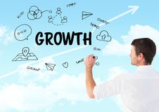 Growth graphic draw by man with sky background Stock Photos