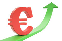 Growth green arrow with symbol of euro, 3D rendering. Growth green arrow with symbol of euro, 3D Royalty Free Stock Photos