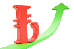 Growth green arrow with symbol of lira, 3D rendering. Growth green arrow with symbol of lira, 3D Stock Photography