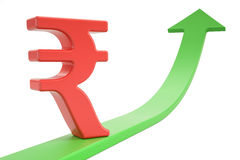 Growth green arrow with symbol of rupee, 3D rendering. Growth green arrow with symbol of rupee, 3D Stock Photos