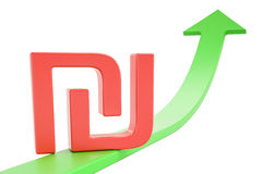 Growth green arrow with symbol of shekel, 3D rendering. Growth green arrow with symbol of shekel, 3D Stock Photography