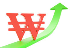 Growth green arrow with symbol of won, 3D rendering. Growth green arrow with symbol of won, 3D Stock Photo