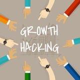 Growth hacking business method concept of using their knowledge of product and distribution, find ingenious, technology Stock Image