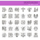 Growth Hacking Elements. Thin Line and Pixel Perfect Icons Royalty Free Stock Photo