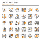 Growth Hacking Elements. Thin Line and Pixel Perfect Icons Royalty Free Stock Photos