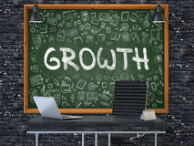 Growth - Hand Drawn on Green Chalkboard. 3D. Growth - Hand Drawn on Green Chalkboard in Modern Office Workplace. Illustration with Doodle Design Elements. 3D Royalty Free Stock Images