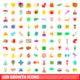 100 growth icons set, cartoon style. 100 growth icons set in cartoon style for any design vector illustration royalty free illustration