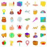 Growth icons set, cartoon style Stock Images