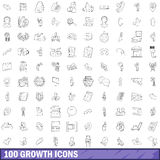100 growth icons set, outline style. 100 growth icons set in outline style for any design vector illustration Royalty Free Stock Images