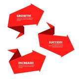 Growth, improve, success business arrow. Increasing graph flat v. Growth, increase, success business arrow. Red graphs depict improve business. Flat concept Royalty Free Stock Image