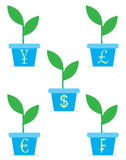 Growth income from start up set. Sprout in a pot. Profit money growth and finance sprout plant in pot. Vector flat design illustration Royalty Free Stock Image
