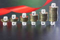 Growth income text letter Stock Photo