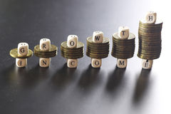 Growth income text letter Stock Photography
