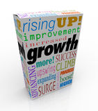 Growth Increase Improve Rise Up More Success Product Package Box. Growth words on product package or box including improved, increase, advancing, more, expanding Royalty Free Stock Photography