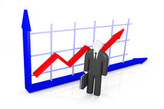Growth indicators and abstract figure of businessman Stock Photos