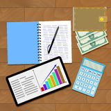 Growth infographic strategy. Modern workplace with tablet computer, vector illustration Stock Image