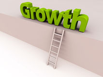 Growth ladder. Growth can be achieved by working up this 3d ladder, the word is in green color, growth, promotion and raise concept royalty free illustration