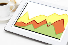 Growth line graph on a tablet Stock Photo