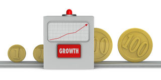 Growth machine. Concept that shows a machine that helps growth of wealth (3d render Royalty Free Stock Image
