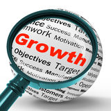 Growth Magnifier Definition Shows Business Progress Or Improveme Stock Photos
