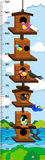 Growth mearsuring chart with birds in birdhouse. Illustration Stock Photo
