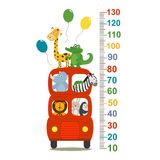 Growth measure with animals in london red bus. Vector illustration, eps stock illustration