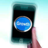 Growth On Mobile Phone Means Get Better Bigger And Developed Stock Photo