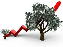 Growth of a money tree. 3D cartoon illustrating the growth of a money tree with 100 euro leafs royalty free illustration