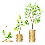 Growth of money. Watercolor  set Royalty Free Stock Photo