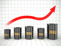 Growth of oil price. Barrels and graph. 3d Stock Photos