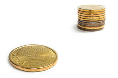 Growth of one dollar. Growth of one gold dollar Royalty Free Stock Photography