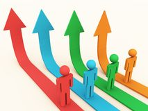 Growth Path. 3d people on a growth path in different colors, and white background stock illustration