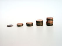Growth in Pennies. Penny Bar Chart Royalty Free Stock Images