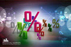 Growth percentage. In color background Stock Photography