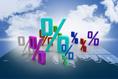 Growth percentage. In color background Royalty Free Stock Photography