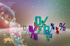 Growth percentage. In color background Royalty Free Stock Image
