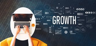 Growth with person using a laptop stock images