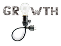 Growth phrase and light bulb, hand writing, aggressive challenge Stock Image