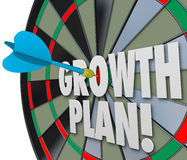 Growth Plan Words Dart Board Direct Hit Targeting Improvement In. Growth Plan words on a dart board and targeting or aiming for increase or improvement in sales stock illustration