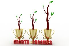 Growth of plant in a golden trophy Stock Photo