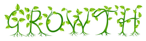 Growth plant typography concept. Growth spelt out by trees or plants growing into the word Royalty Free Stock Photo