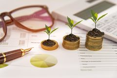Growth plants on stack of coins on paper analyze financial graph with calculate for investment business. Investment and Saving Concept Royalty Free Stock Images
