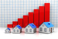 Growth price of houses vector illustration