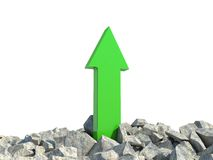Growth progress green arrow. Isolated white Stock Photos