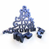Growth pyramid with dropped letters Royalty Free Stock Photos