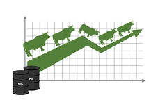 Growth rate of oil. Oil quotations increase. Barrel of oil. Stock Photos