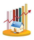 Growth in real estate shown on chart Stock Photography
