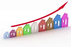 Growth in real estate shown on graph Stock Photography