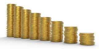 Growth or recession: golden coins stacks Stock Image