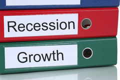 Growth and recession in office company business concept. Growth success and recession crisis in office company business concept stock photography